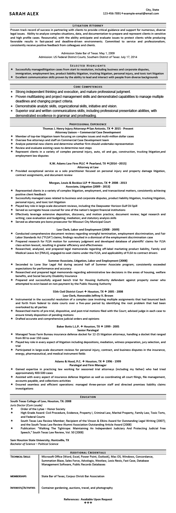 Law Firm Attorney Resume Samples Templates Tips Attorneyresume Com