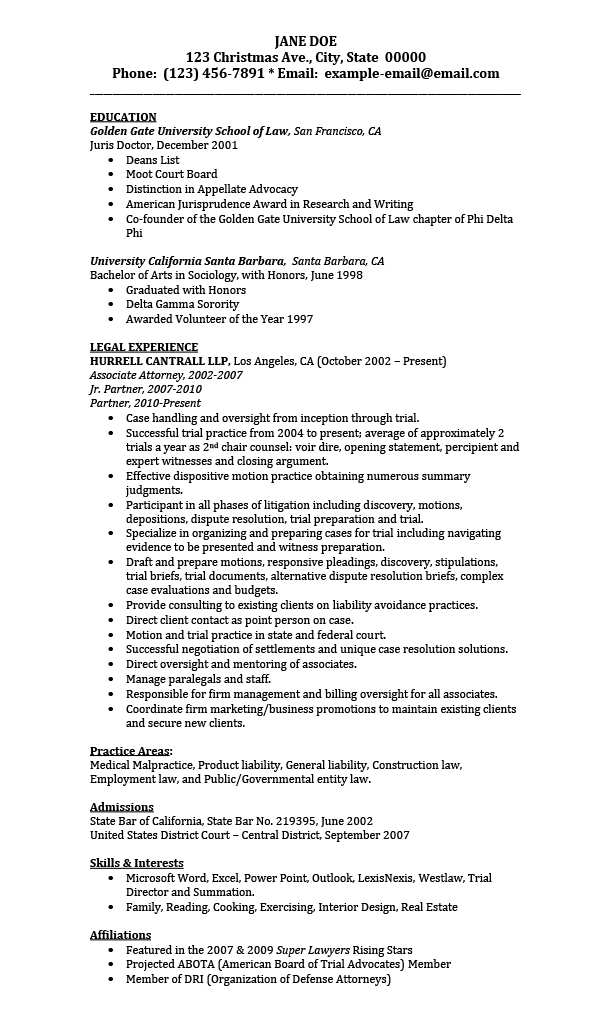 Sample Resumes for Attorney, Legal, Law Students ...
