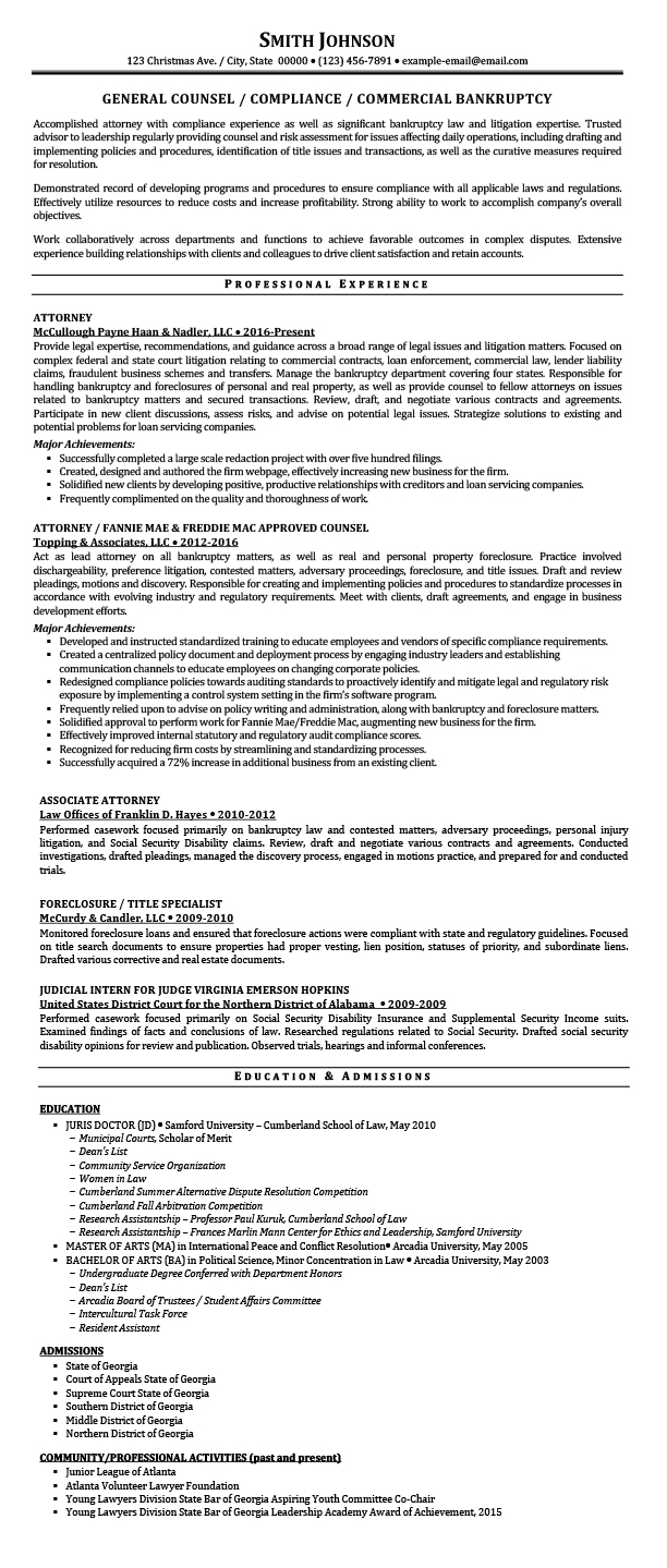 Sample Resumes for Attorney, Legal, Law Students & Experienced Attorneys