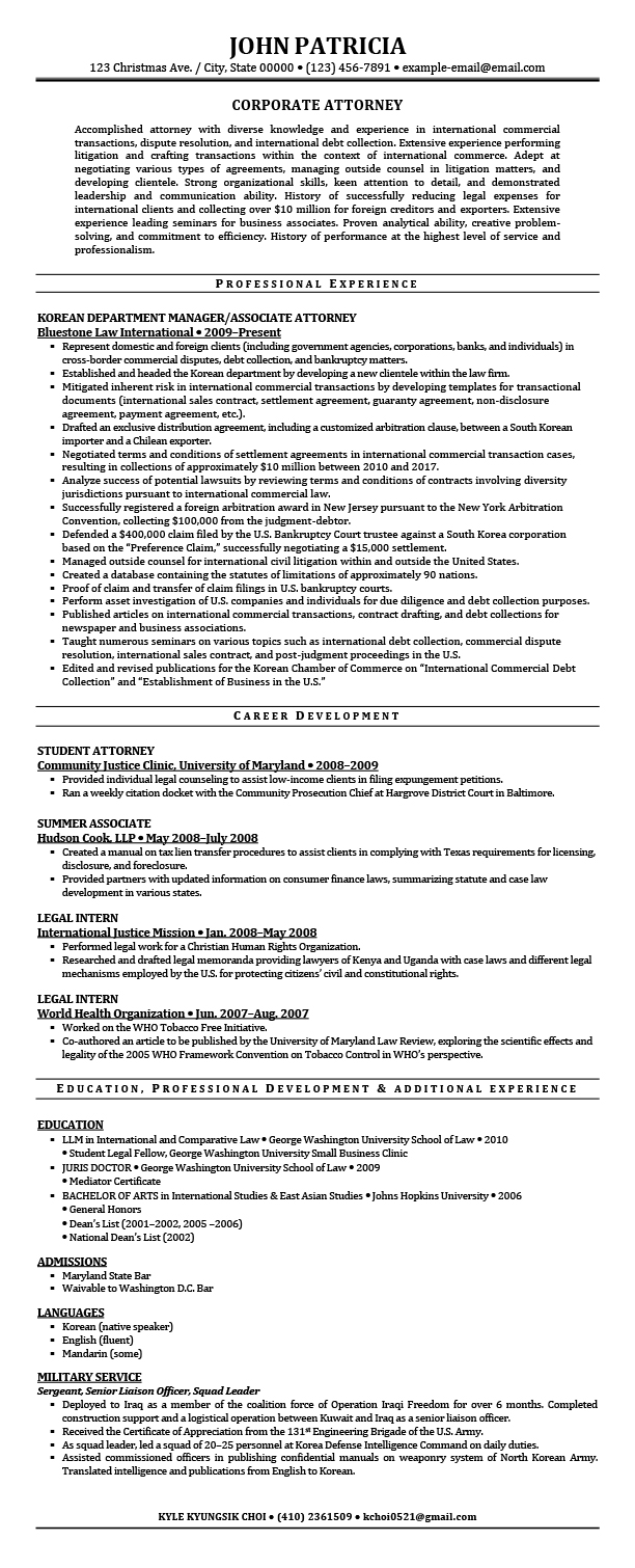 Corporate Attorney Resume Samples