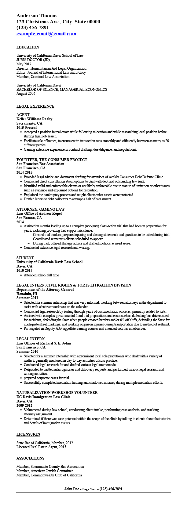 Attorney Resume  Sample Government Resume