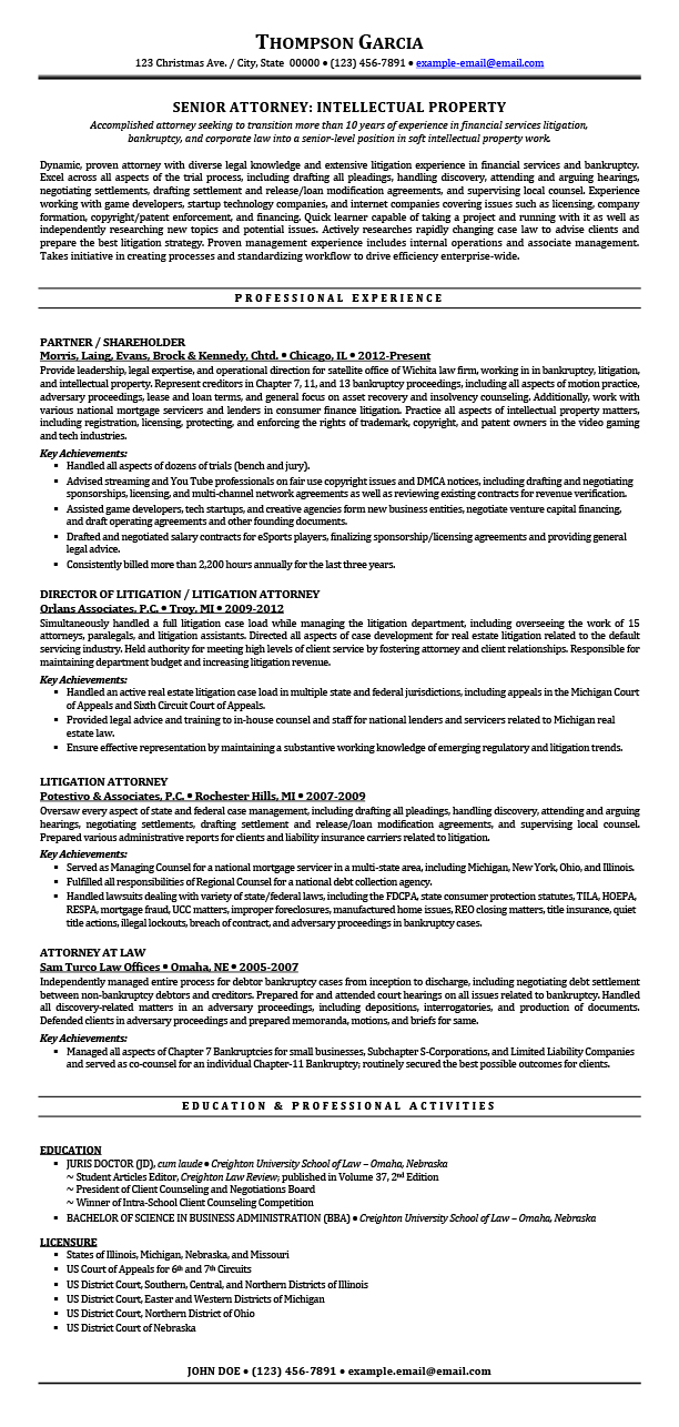 Attorney Resume | Sample Resumes For Attorney Legal Law Students Experienced Attorneys