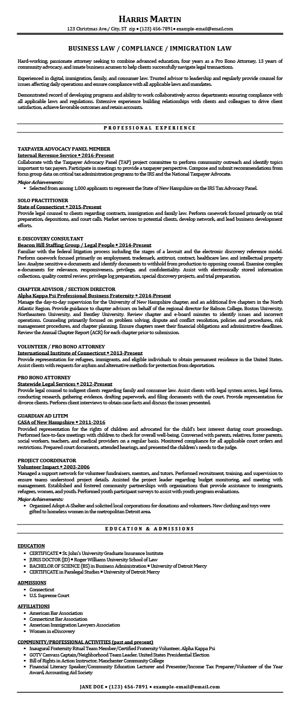Sample Resumes For Attorney Legal Law Students Experienced Attorneys