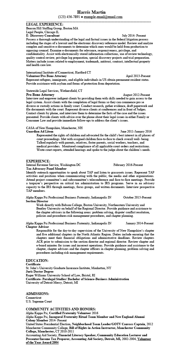 Sample Attorney Resume | Sample Resumes For Attorney Legal Law Students Experienced Attorneys