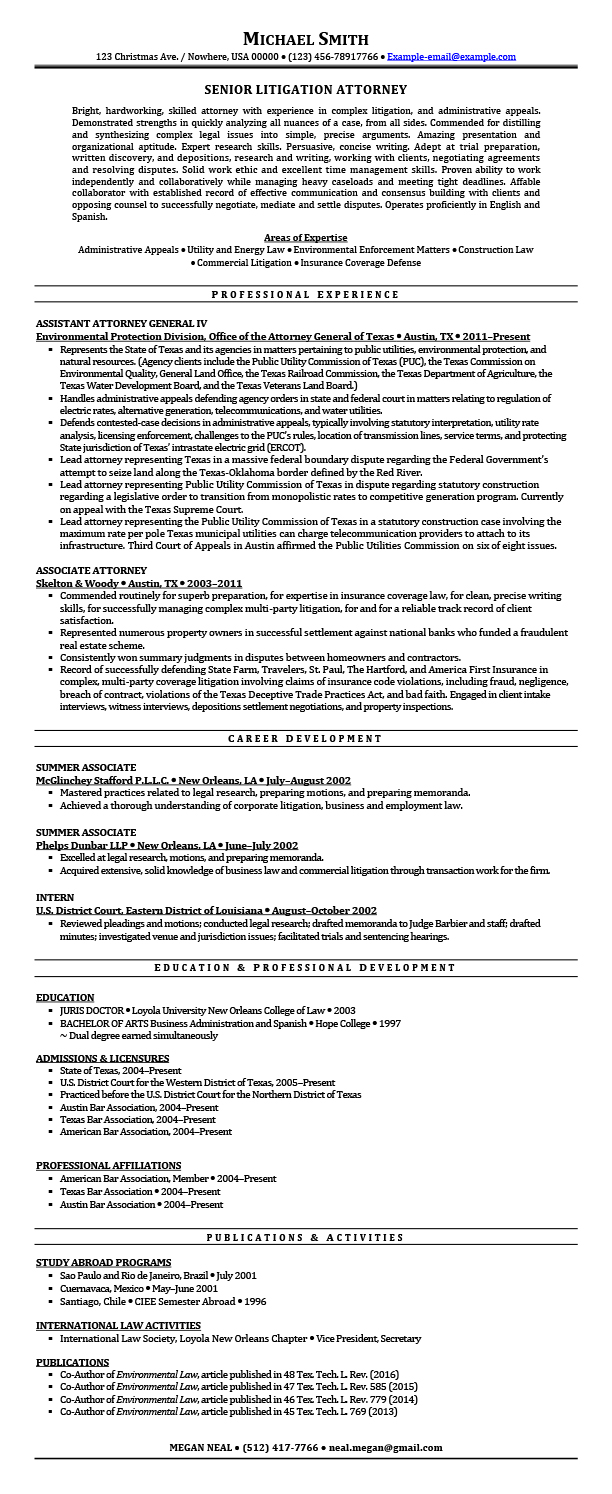 Litigation Attorney Resume Samples Templates Tips | AttorneyResume.com
