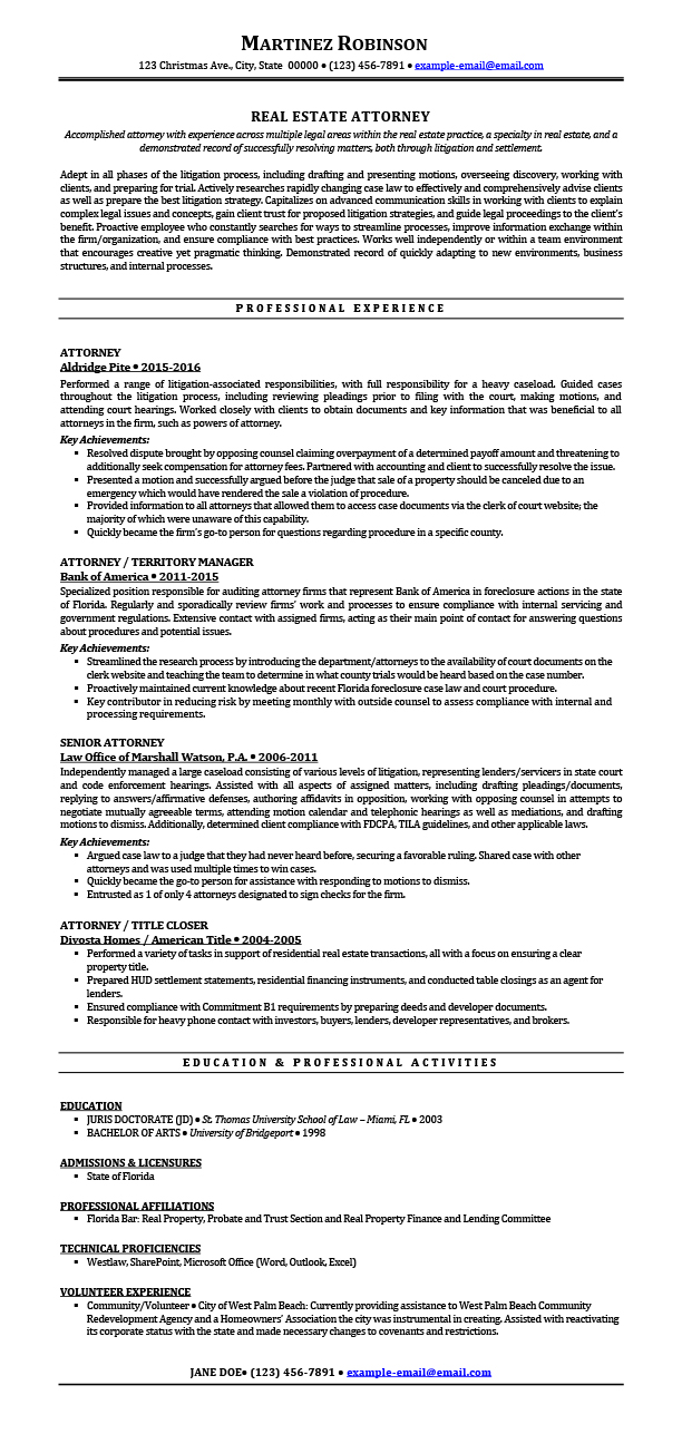 Real Estate Attorney Resume Samples Templates Tips Attorneyresume Com