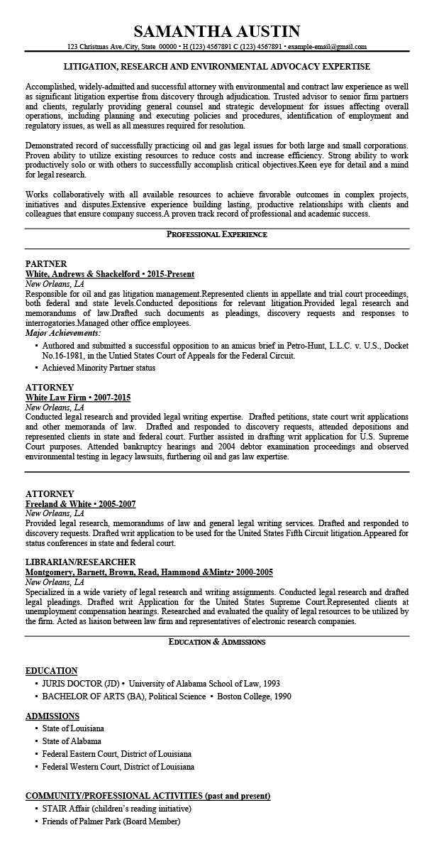 experienced attorney resume samples pdf  best resume examples